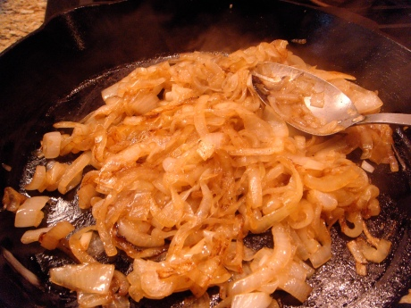 Caramelizing the onions.