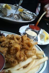 Fries, calamari and oysters