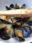 Plump, brothy mussels