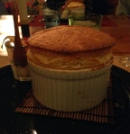 Passionfruit souffle at La Chassagnette.