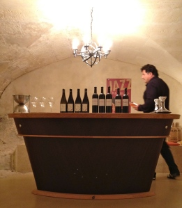 Setting up for wine tasting at Dalmeran.