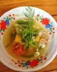 Zingy, brothy quail soup, good for the soul.