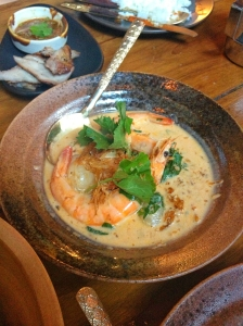 White prawn in a curry of Asian pennywort, longan and holy basil with fried lemongrass.
