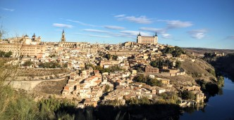 Panoramic view of Toledo from across the river.